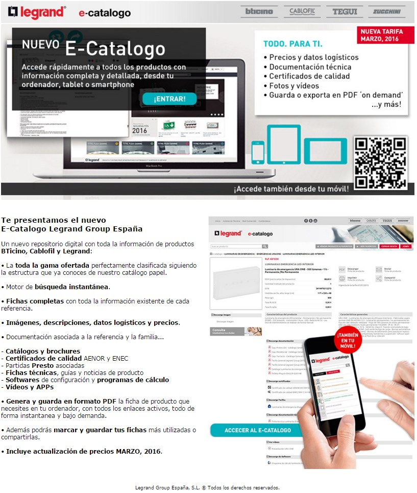 Newsletter E-Catalogo Legrand Group