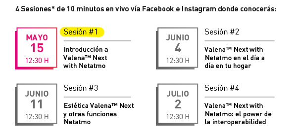Fechas sesiones en streaming Valena™ Next ON TOUR, By Legrand